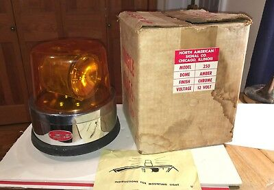1960's North American Signal Co. Amber Beacon Light With Box Model 250 Unused!