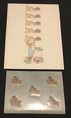 Vtg BETSEY CLARK 5 Hallmark Christmas Postalettes Cute Girl Wrapping Gifts Seals