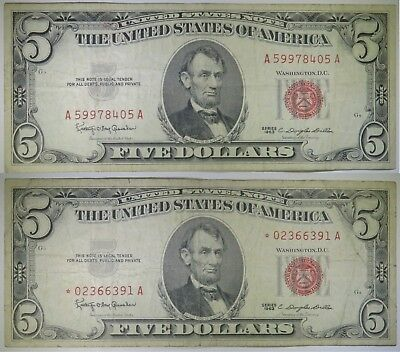 Two Notes ~ $5 1963 Five Dollar United States Note & $5 1963 STAR Note