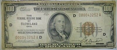 1929 $100 One Hundred Dollars National Currency, Cleveland, Ohio