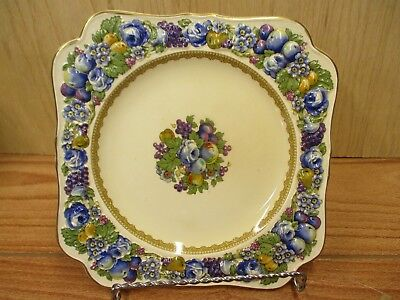 "Vintage Crown Ducal Florentine England 8.375"" Square Luncheon Plate 1954"