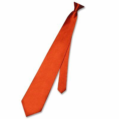 Biagio CLIP-ON NeckTie Solid BURNT ORANGE Color Men's Neck Tie