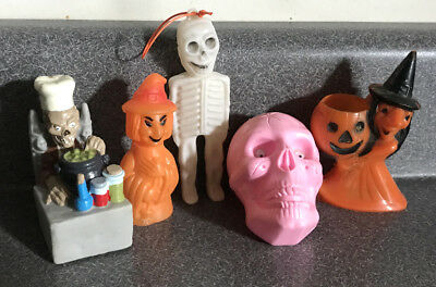 Vintage Lot Halloween Candy Containers Rosbro Witch Skeleton Tales Crypt Monster