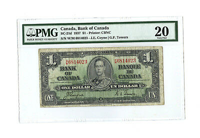 1937 $1 CANADA PMG 20 BC-21d VERY FINE BANKNOTE COYNE TOWERS S/N W/M 6814023