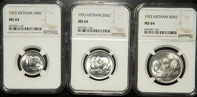 Ngc Ms-65/65/64 Vietnam Lot Of 3 (Three) Coins 10-20-50 Xu 1953 (Undergraded)