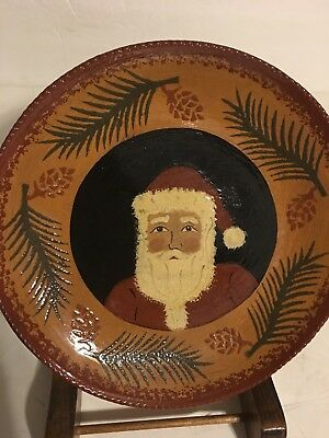 Ned Foltz red ware Redware Pottery Santa Clause St Nick plate