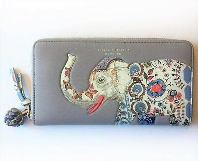 7c8d72e498d TORY BURCH Elephant Zip Continental Wallet ~ Gray Smooth Leather NWT  228