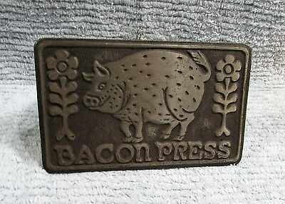 Taylor NG Old 1979 Cast Iron Pig Bacon Press Grill Weight w Wood Handle FREE S/H