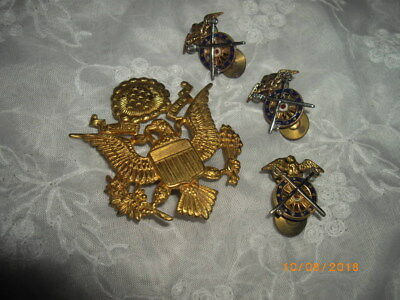 Lot of Four Tacs and a Large Eagle pin WWII ?
