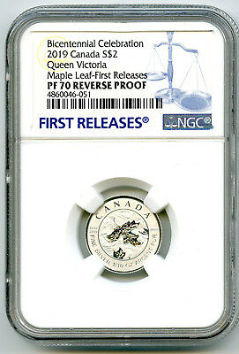 2019 $2 Canada 1/10Oz Silver Maple Leaf Queen Victoria Ngc Pf70 Reverse Proof Fr