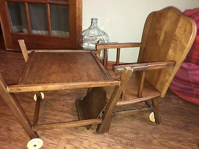 Vintage Wooden 1950's Thayer Convertible High Chair and Toddler Table