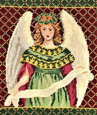 Victorian Christmas Angel w/ Petit Point Finished Completed Pillow Needlepoint