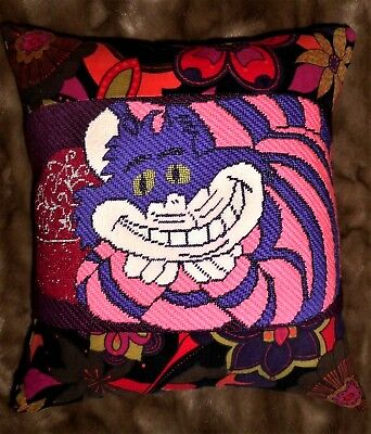 FABULOUS! Alice In Wonderland Cheshire Cat Finished Completed Pillow NEEDLEPOINT