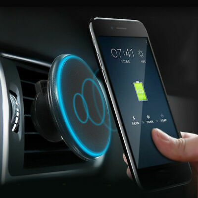 Qi Wireless Car Charger Magnetic Mount Holder For Samsung S9 iPhone XS MAX XR 8