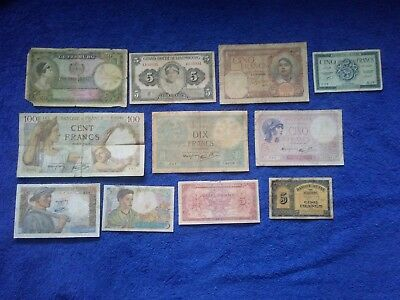 WW2 Group of 11 Notes France, French Algeria, Luxembourg, Belgium 100 50 5 Franc