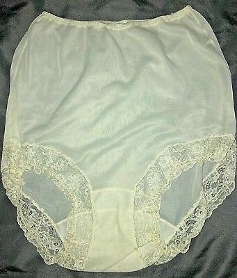 Vintage Silky SHEER Soft NYLON Ivory BRIEF Panty w/ Lace Trim Along Leg Openings