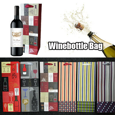 10Pcs Paper Wine Bottle Bags Handle Beer Champagne Packing Bag Xmas Party Gift