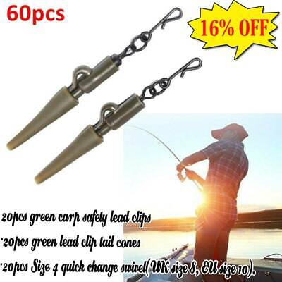 60x Fishing Tackle Carp Lead Clips Tail Cones Quick Change Snap Swivels Hot