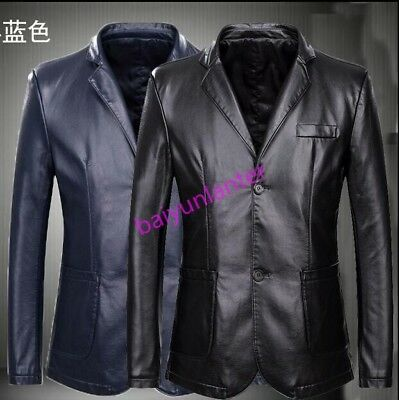 Mens Pu Leather Two Buttons Jacket Casual Business Plus Size Slim Fit Coat Vogue