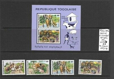 Togo 1974 Cattle set + min sheet mint