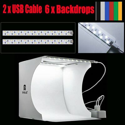 Double LED Light Room Photo Studio Photography Lighting Tent Backdrop Box AU
