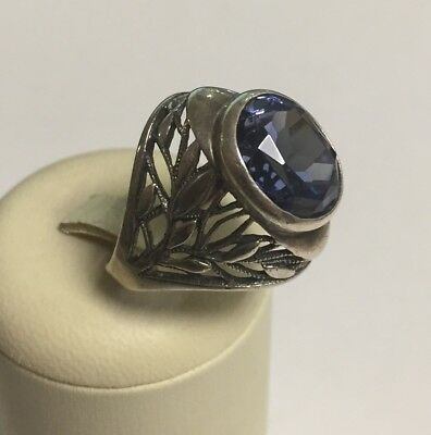 silver ring USSR 875 with star antique vintage