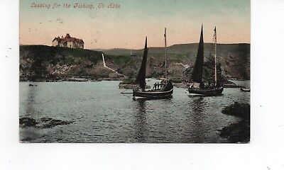 Old Postcard St Abbs 'leaving For Fishing' Posted 1908