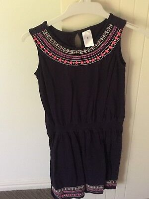 Girls Cute Navy Elastic Waist Print Dress - Size 7 - BRAND NEW WITH TAGS!!!