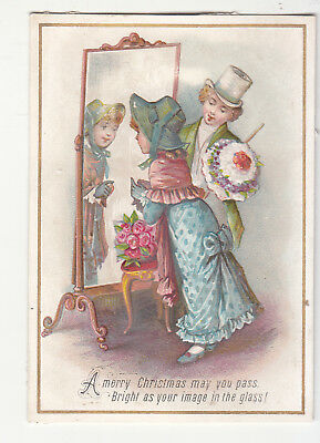 A Merry Christmas May You Pass Image in the Glass Mirror Vict Card c1880s