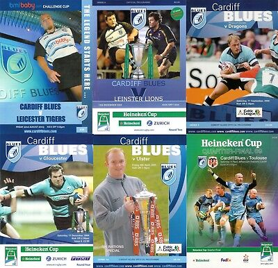 Cardiff Blues Wales Home Rugby Programmes 2003 Welsh Irish English Clubs Good +