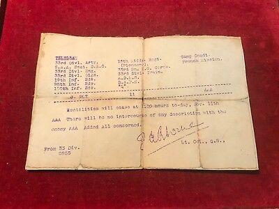 Original Armistice 11Th November  1918 Telegram. From 33Rd Division