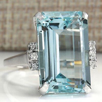 Big Square Blue Cubic Zircon Stone Silver Toned Rings for Women Charm Jewelry Z