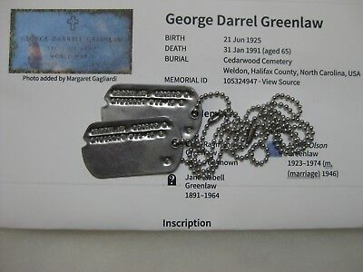 Wwii Us Army Dog Tags Set From North Carolina & Grave Photo Greenlaw Name