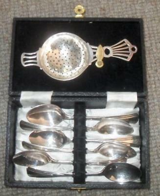 SIX SILVER PLATED EPNS Art Deco TEASPOONS AND TEA STRAINER Original box VGC