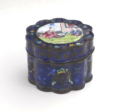 Antique Chinese Enamel - Oriental Figures Pill Or Trinket Box - Early!