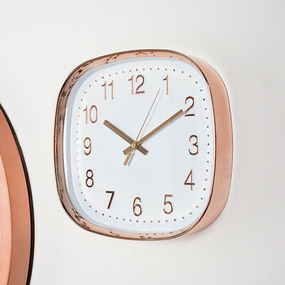Square polished copper frame white clock face modern retro vintage display gift