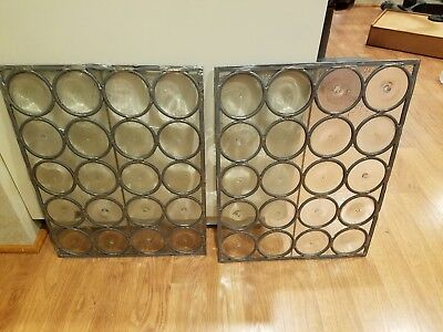 Pair of Architectural Leaded Glass Panels  22 x 17 steampunk