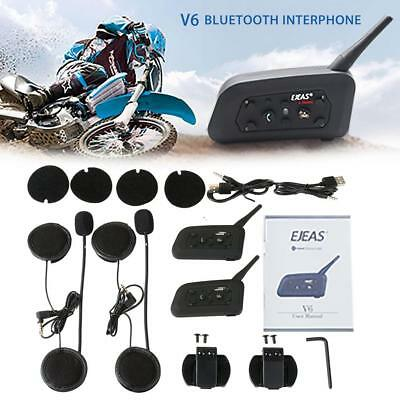 2Pcs V6 Pro Motor Helmet Bluetooth Headset Intercom 6 Riders 1200M BT Interphone