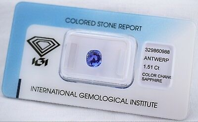 Natural Sapphire 1,51ct  Cushion Mixed Cut IGI Certificat sealed