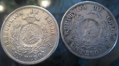 GREAT GUATEMALA START 1 $  1 PESO  Counter-stamped coinage CHILE 1883 and 1874