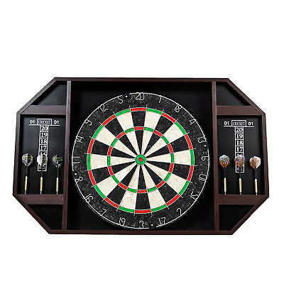 Lancaster 18 Inch Bristle Dartboard Cabinet with 6-Piece Dart Set and Scoreboard
