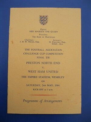 1964 Preston Vs. West Ham Fa Cup Final Programme Of Arrangements Issued To Clubs