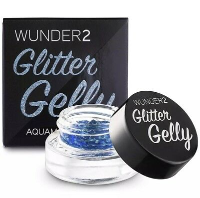 Wunder2 Glitter Gelly Aquamarine Brand NEW Long Lasting Eye Lips Body