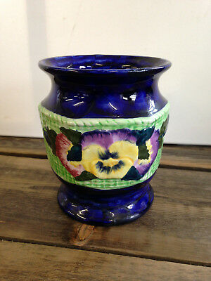 "Vintage Maling Ware Ringtons Pansy Vase / Plant Pot / Bowl 6.5"" high  Good Cond"