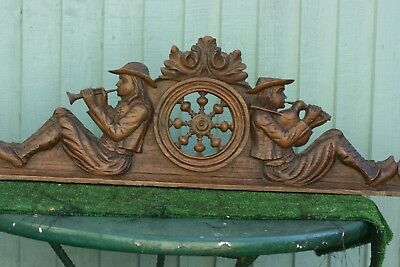 SUPERB 19thC BLACK FOREST WOODEN OAK PEDIMENT: SEATED MUSICIAN FIGURES c1880s