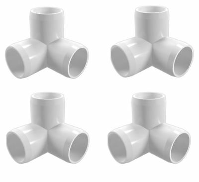 4 Pack 3 Way Elbow Tee Pvc Fitting 1 12 Pipe Connector Corner