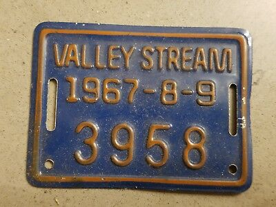 Vintage 1967 1968 1969 Valley Stream NY New York Bicycle license plate