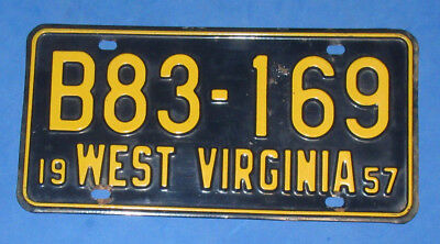 1957 West Virginia License Plates Tag  # B83-169
