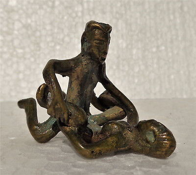 INDIA: Old Indian (or African ?) bronze Erotic figurine