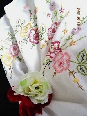 VINTAGE HAND EMBROIDERED white linen  TABLECLOTH ~ flowers/leaves